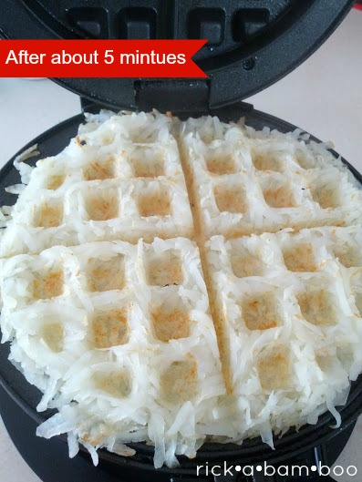 hash browns in the waffle iron