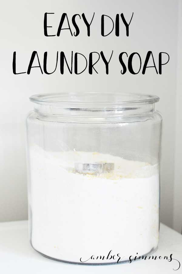 This powdered homemade DIY laundry soap recipe lasts for over and year and is only $20 to make. Not only is it budget-friendly, but it is also HE friendly as well. #diylaundrysoap #homesoap