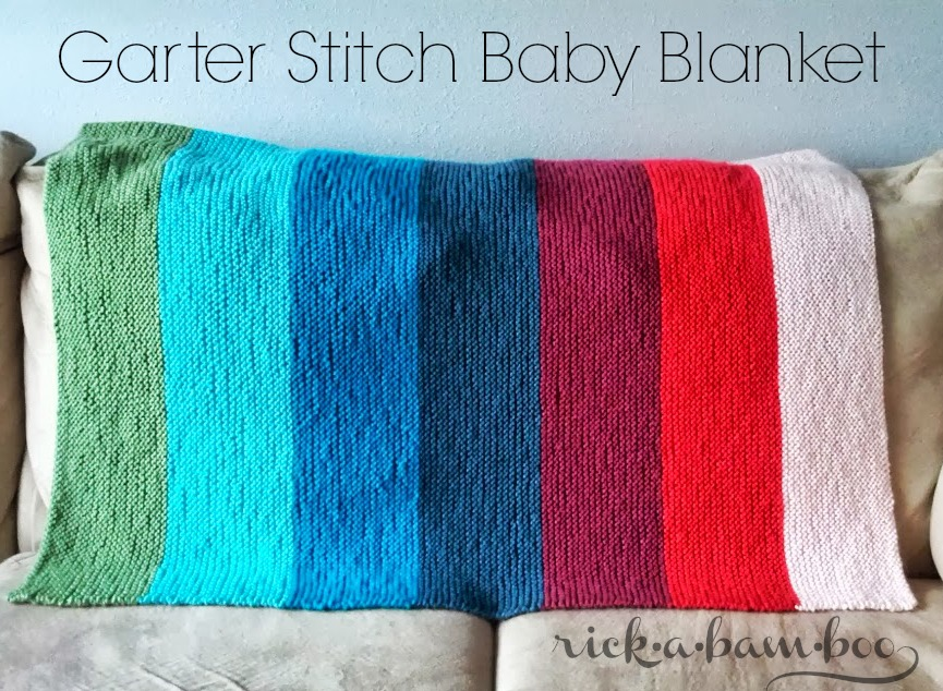 garter stitch baby blanket knit by rick•a•bam•boo