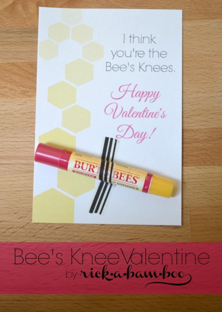 Bee's Knees Valentine {Free Printable} | rickabamboo.com | #bees #burtsbees