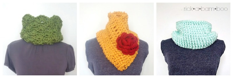 Crochet Cowl Collage | rickabamboo.com | #cowl #scarf #learntocrochet