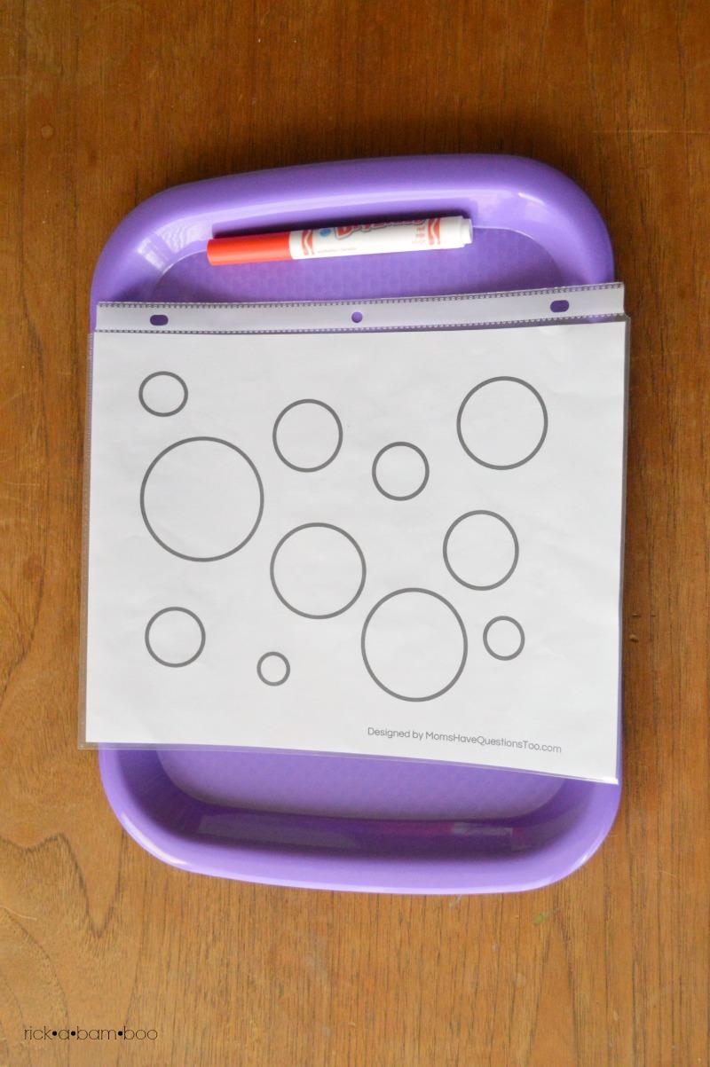 Tot Tray Circle Coloring | rickabamboo.com | #preschool #printable
