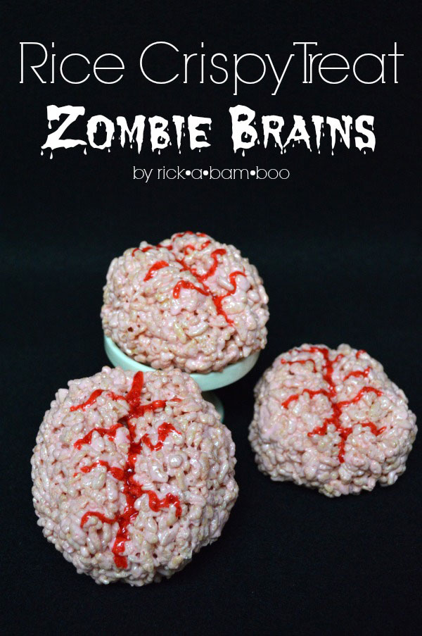 Zombie Brain Rice Crispy Treats | rickabamboo.com | #brains #zombies #halloween
