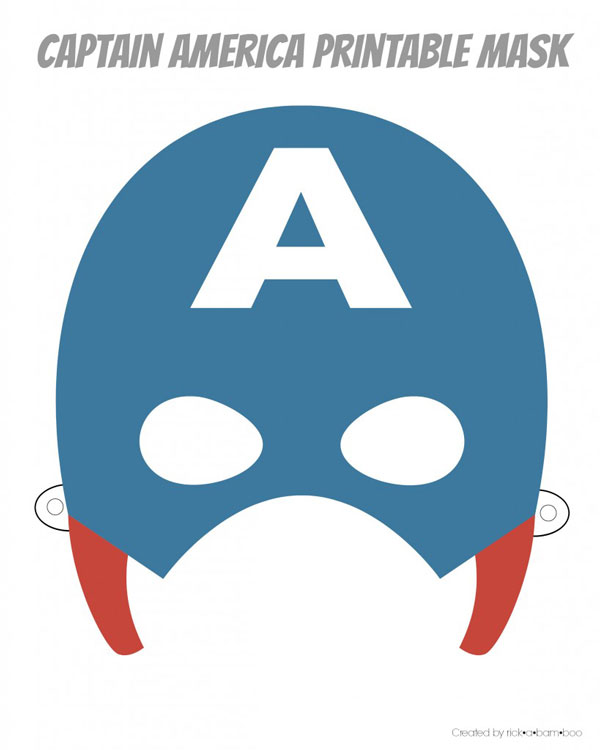 Captain American printable superhero mask