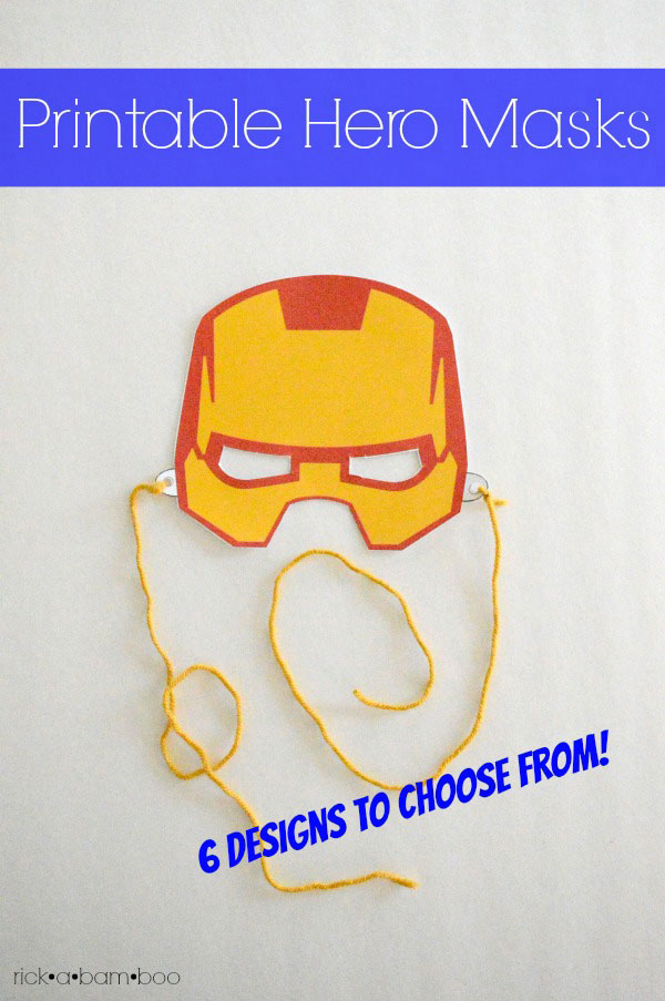 Free superhero printable masks. Six designs to choose from. | ambersimmons.com