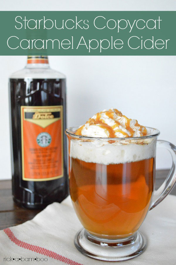 Starbucks Copycat Caramel Apple Cider | rickabamboo.com | #drink #hot #falll