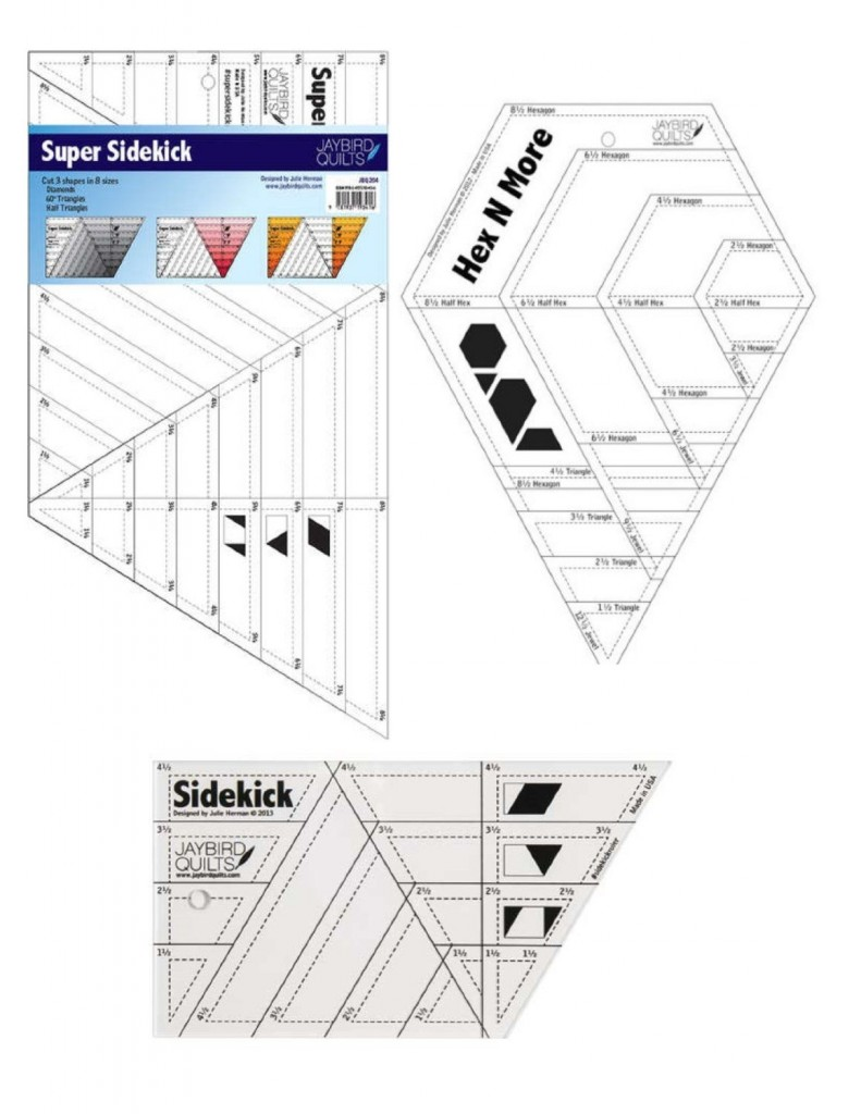 If you are in to making quilts then you probably have speciality rulers or at least have some on your list. I love the Hexnmore, Sidekick, and Super Sidekick rulers because they make it so easy to get consistent triangles, half triangles, diamonds, hexagons, half hexagons, and jewels of several sizes. And all from strips of fabric. Check out these tutorials from Julie of Jaybird Quilts, the ruler creator of the Hexnmore and Sidekick, to see how awesome these are and why you need them in your life. Plus Julie has tons of beautiful patterns to go with her rulers as well.
