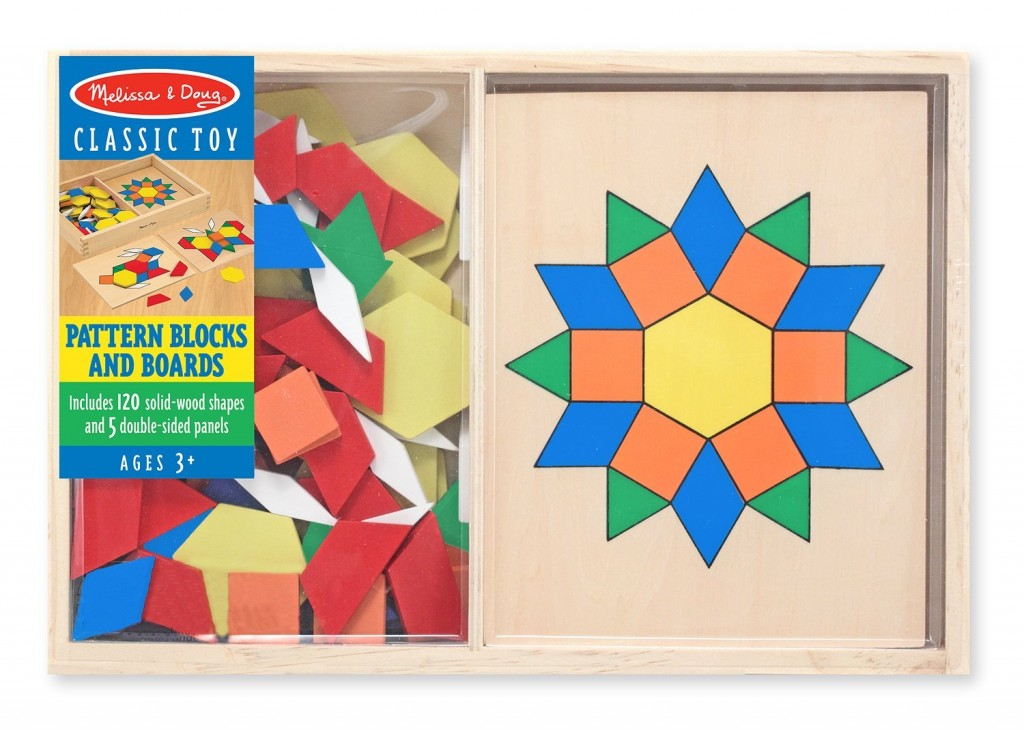 Melissa and Doug Wooden Pattern Blocks And Boards | Toddler Gift Guide | Amber Simmons | Who remembers playing with these pattern blocks in school? I do. I loved them. They are a great way to expand your mind and see how different shapes fit together. Plus it sneaks in some geometry basics as you learn about how all the angles match up.