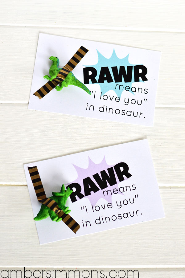 "Rawr means ""I love you"" in dinosaur printable Valentine 