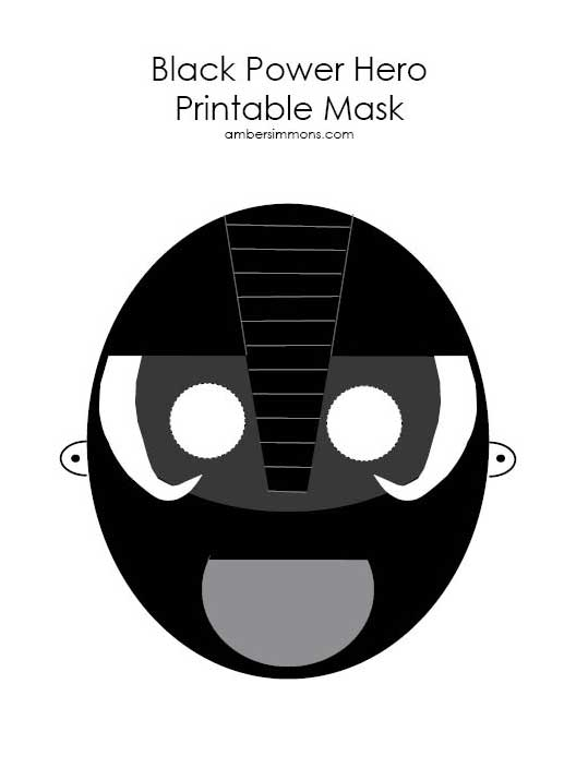 Black Power Hero Printable Mask | ambersimmons.com