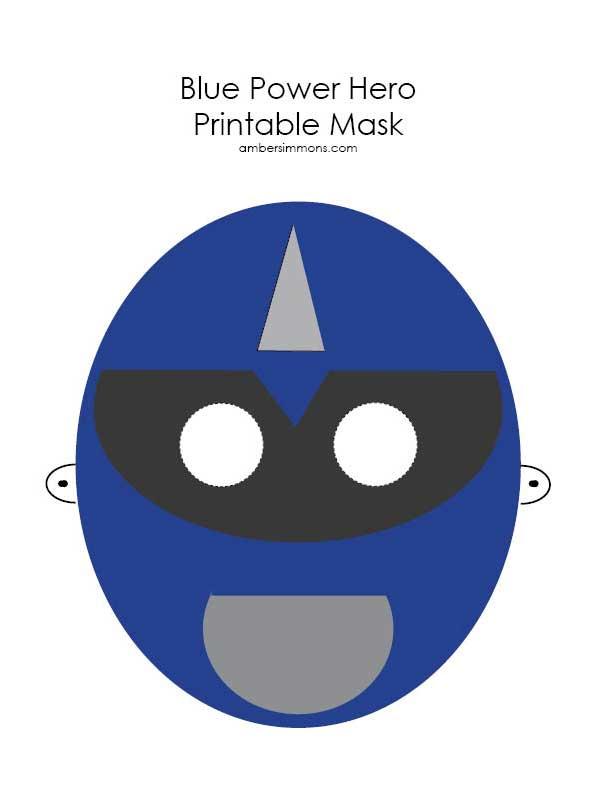 Blue Power Hero Printable Mask | ambersimmons.com