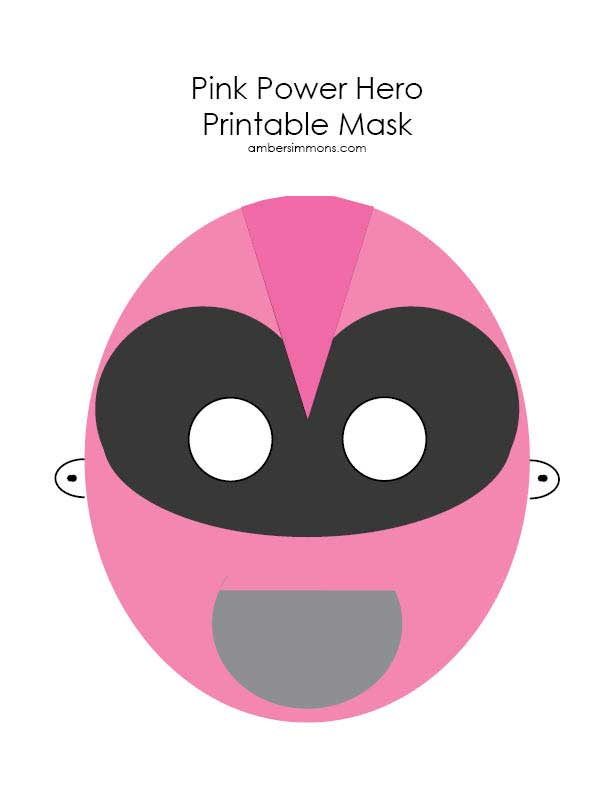 Pink Power Hero Printable Mask | ambersimmons.com