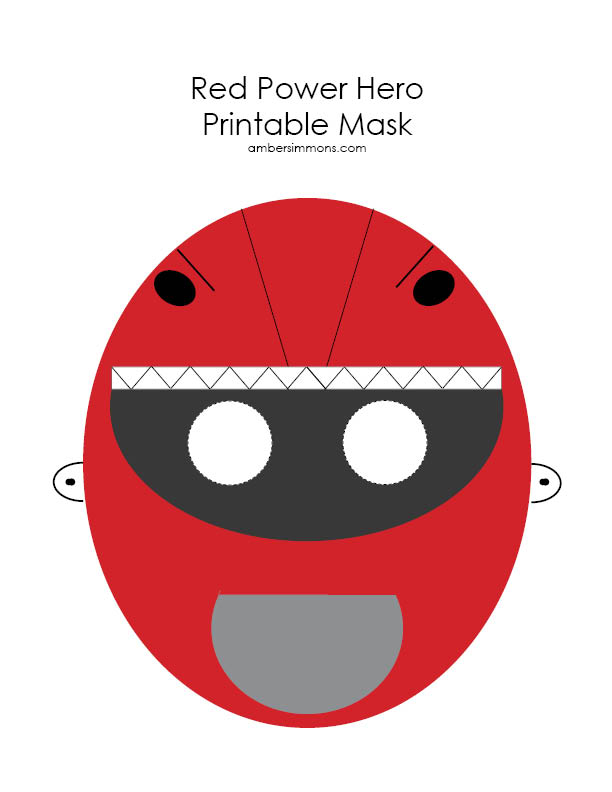 Red Power Hero Printable Mask | ambersimmons.com