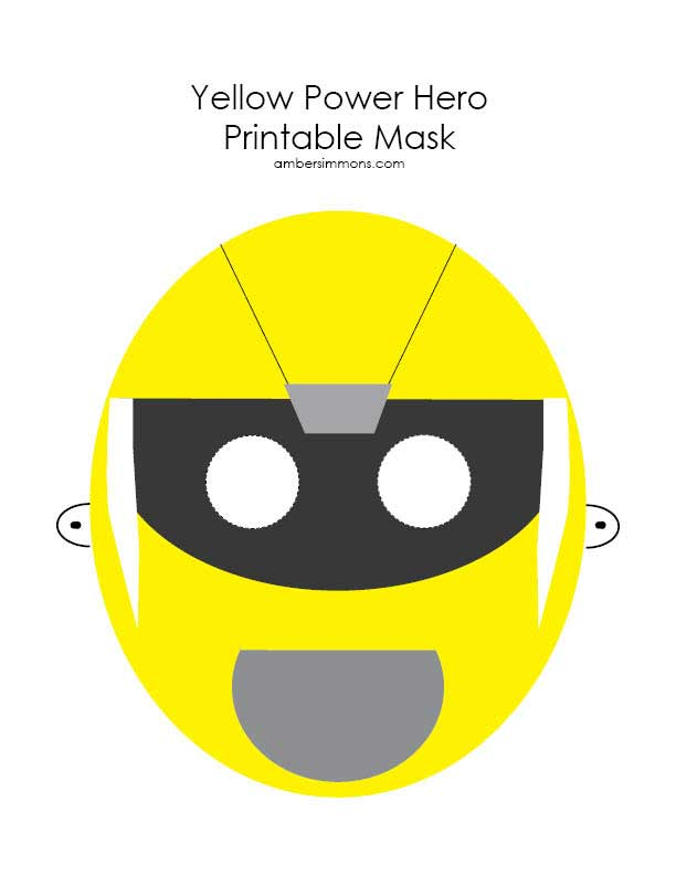 Yellow Power Hero Printable Mask | ambersimmons.com