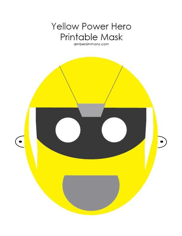 Yellow Power Hero Printable Mask | ambersimmons.com