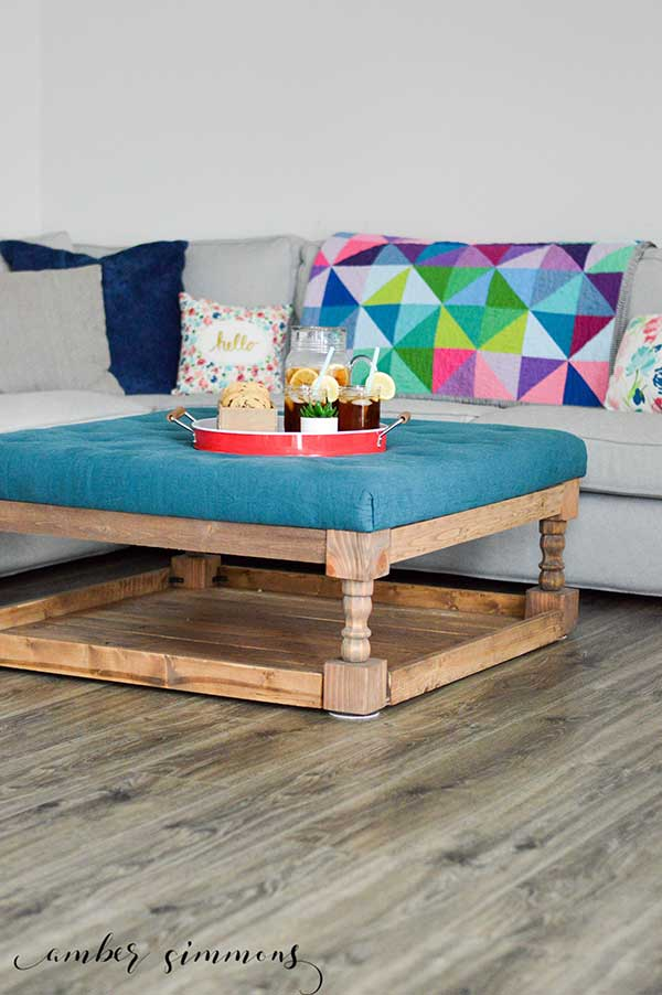 Modern Farmhouse Tufted Ottoman Tutorial | Fixer Upper Style | Country Chic | Build it yourself