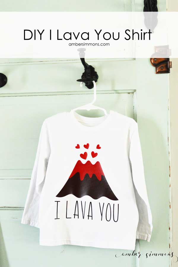 This is DIY I Lava You Shirt is great for Valentine's Day for boys and girls. | ambersimmons.com | cricut | iron on | htv | volcano