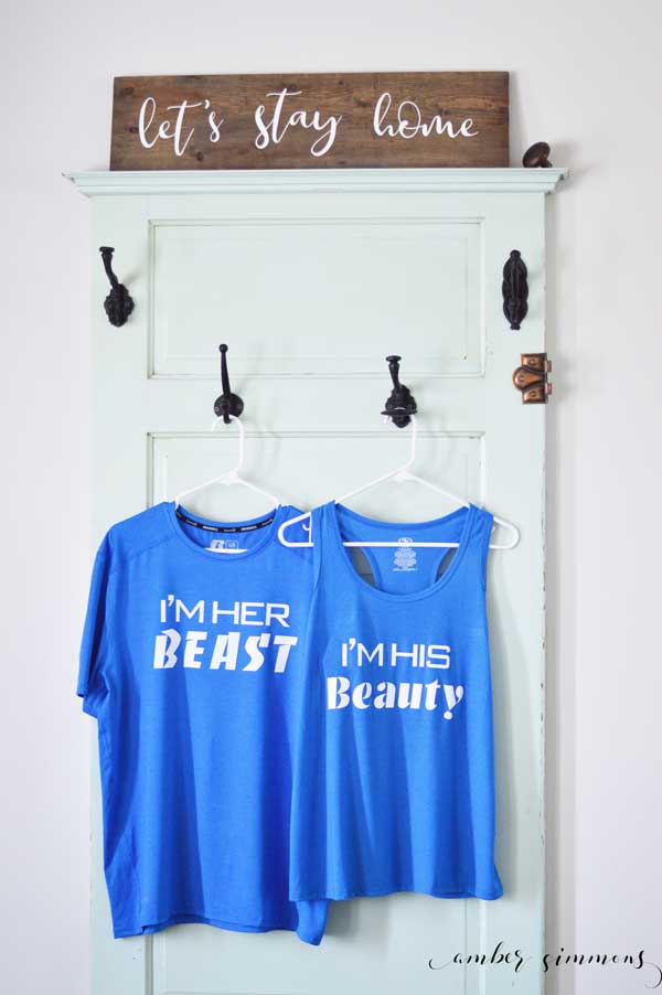Simple DIY tutorial to make his and hers Disney inspired Couples Beauty and the Beast Workout Shirts with Cricut SportsFlex Iron-on. #cricut #cricutiron #swolemates