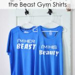Couples Beauty and the Beast Workout Shirts with Cricut SportFlex Iron-on