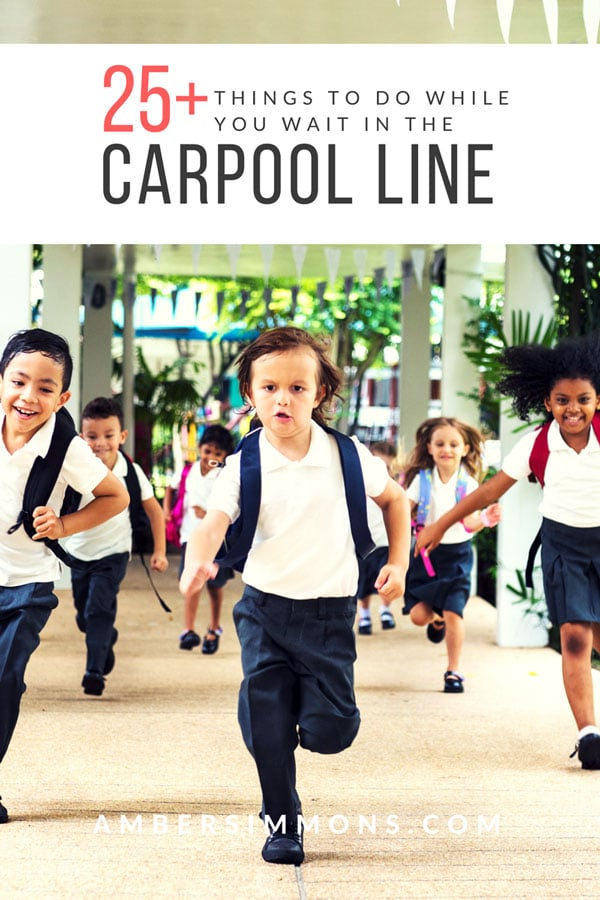 I have compiled a long list of ideas of 25+ things to do in the carpool line to help you make the most of the time you spend waiting in the car. #afterschool #schoolpickup #prodoctivity