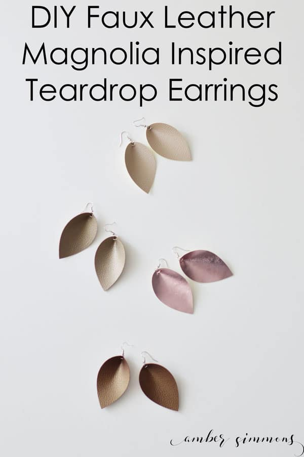 DIY Faux Leather Magnolia Inspired Teardrop Earrings