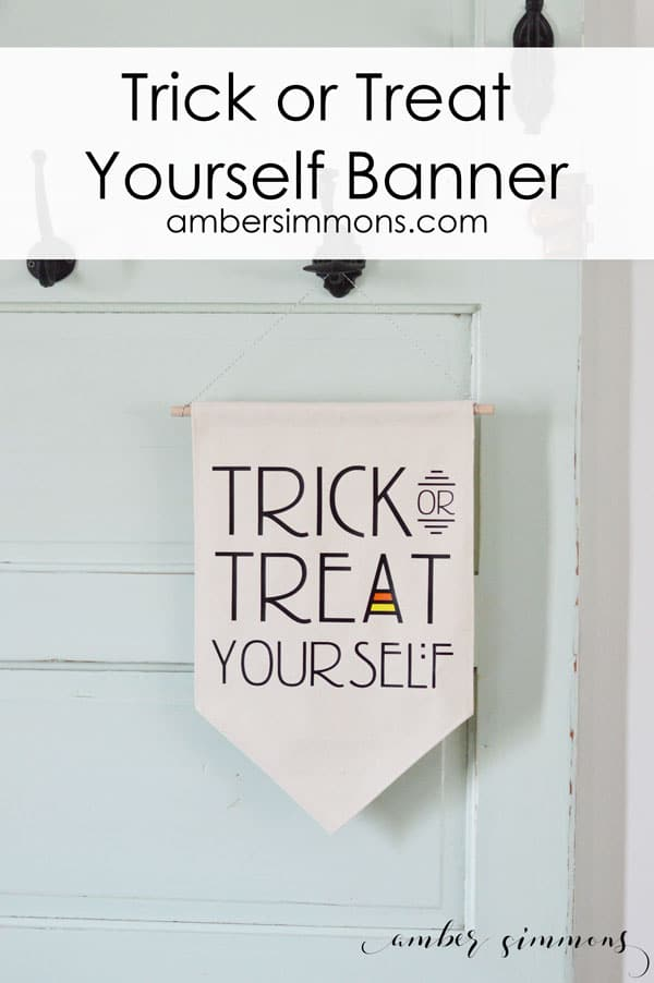 Make your own Trick or Treat Yourself Banner with this easy no-sew tutorial. #halloween #decor #craft #diy #cricut