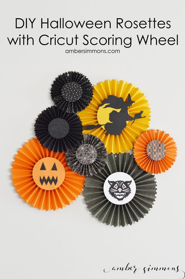 A simple tutorial for DIY Halloween rosettes with the Cricut Scoring Wheel. #CricutMade #Cricut #ad