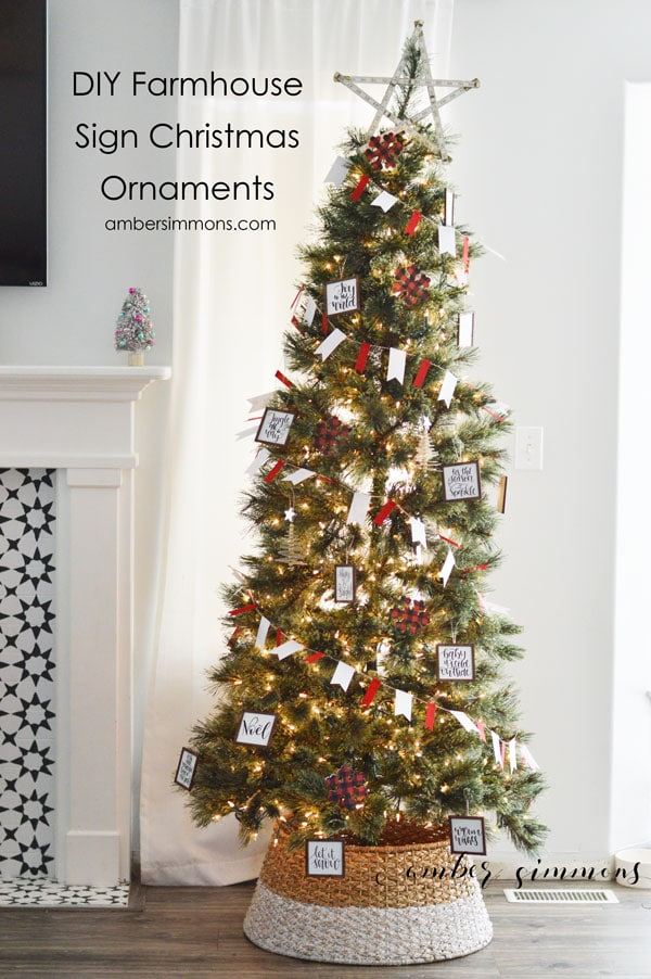 this diy tutorial for how to make mini farmhouse sign christmas ornaments with the cricut maker