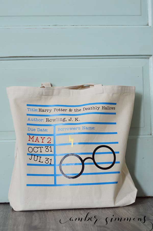 A DIY tutorial on how to create your own Harry Potter Library Book Tote Bag.