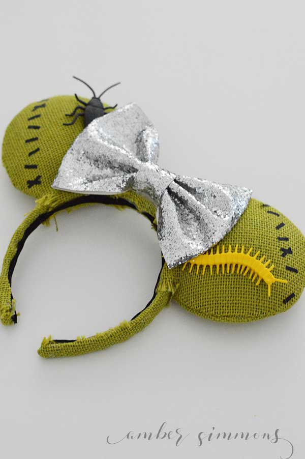 This tutorial for how to make these Nightmare Before Christmas inspired Oogie Boogie DIY Mouse Ears will have you dreaming of Halloween at Disneyland. #disney #handmade #cricutmaker