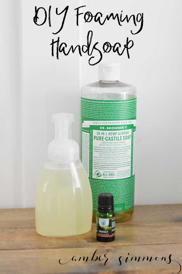 This DIY Foaming Hand Soap uses a natural soap and essential oils to make a great smelling soap that cleans your hands really well.
