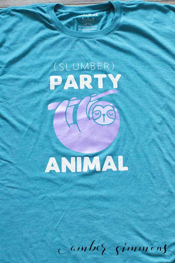 This fun and easy slumber party animal shirt will let everyone at the party know just how much of a party animal you are.