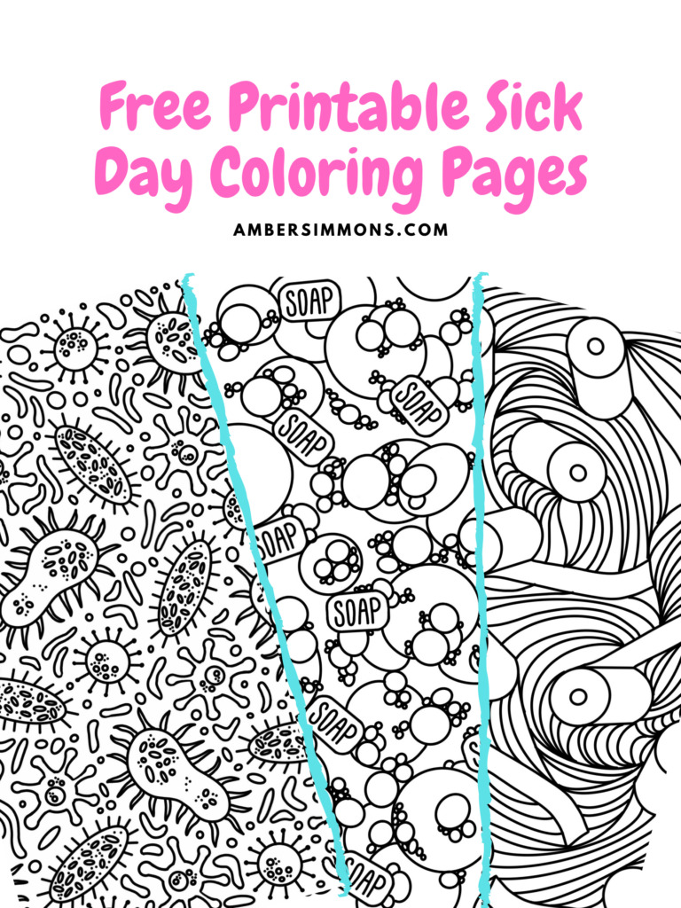 These free printables sick day coloring pages are a perfect quiet activity whether you are sick or just in quarantine. | ambersimmons.com | #pandemic #bored #kidsactivities