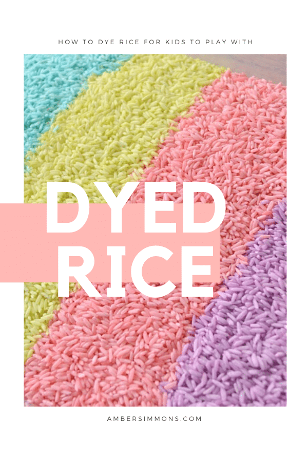 How to make rainbow rice for your homemade sensory bin.