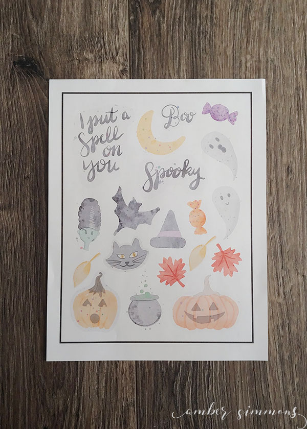 These free printable watercolor Halloween stickers can add a little spooky to your planner or holiday projects.