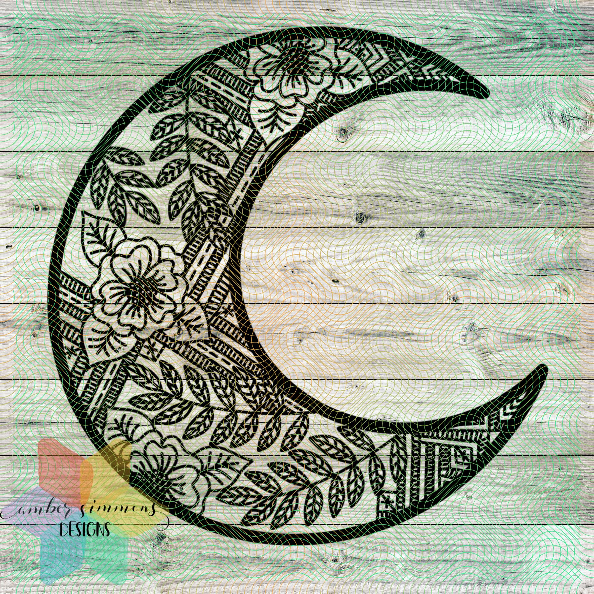 Floral Moon Mandala Style SVG