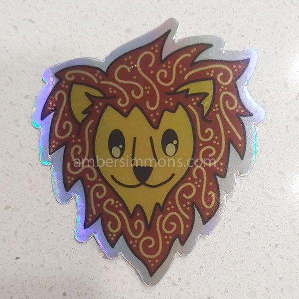 hand drawn holographic lion sticker
